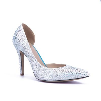 Women's Satin Closed Toe Stiletto Heel With Rhinestone High Heels