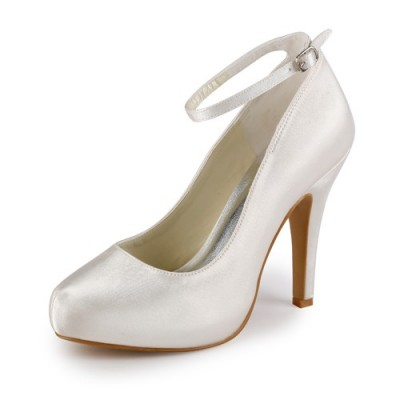 Women's Satin Stiletto Heel Closed Toe Platform Ivory Wedding Shoes With Buckle