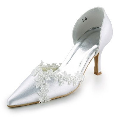Women's Satin Stiletto Heel Closed Toe Pumps White Wedding Shoes With Lace