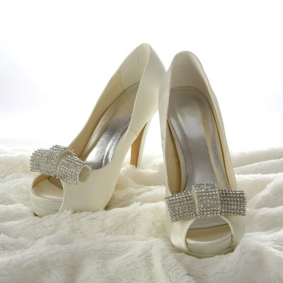 Women's Satin Stiletto Heel Peep Toe Platform Ivory Wedding Shoes With Rhinestone