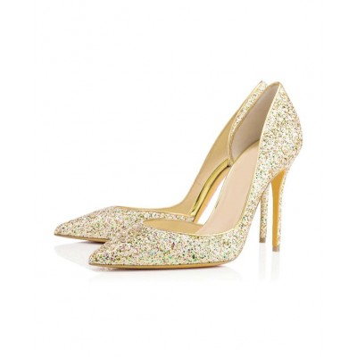 Women's Closed Toe Stiletto Heel With Sequin High Heels