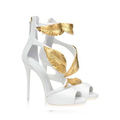 Women's Peep Toe Stiletto Heel Sheepskin Platform Sandals Shoes
