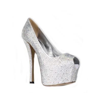 Women's Satin Stiletto Heel Peep Toe Platform With Rhinestone High Heels