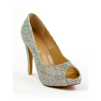Women's Sheepskin Peep Toe Stiletto Heel Platform With Rhinestone Platforms Shoes
