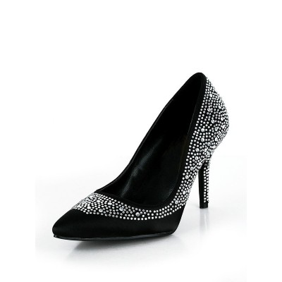 Women's Silk Stiletto Heel Closed Toe With Rhinestone High Heels