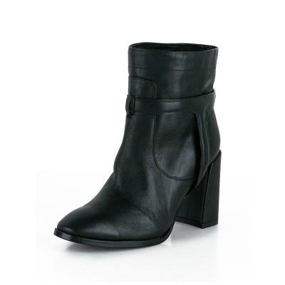 Women's Sheepskin Chunky Heel Closed Toe Booties/Ankle Black Boots