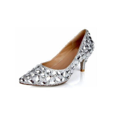 Women's Cone Heel Sheepskin Closed Toe Rhinestone Wedding Shoes