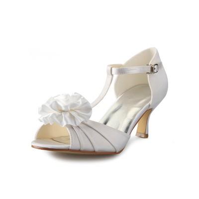 Women's Satin Stiletto Heel T-Strap Peep Toe With Flower Dance Shoes