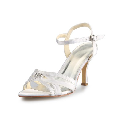 Women's Satin Stiletto Heel Peep Toe With Rhinestone Buckle Dance Shoes