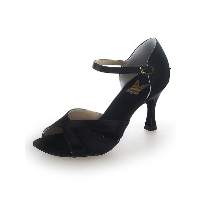 Women's Stiletto Heel Peep Toe Satin Buckle Dance Shoes