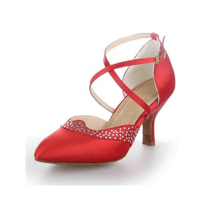 Women's Satin Closed Toe Stiletto Heel Buckle Dance Shoes