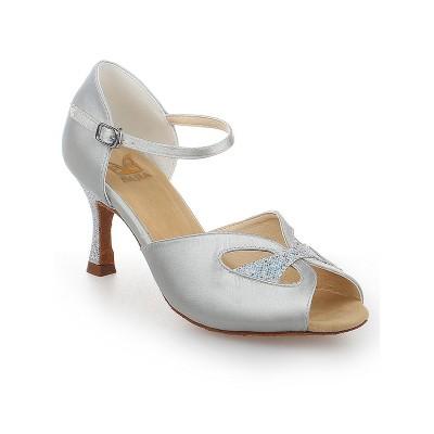 Women's Peep Toe With Buckle Satin Stiletto Heel Dance Shoes