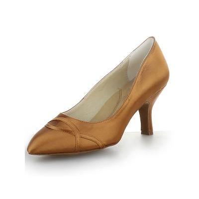Women's Closed Toe Satin Cone Heel High Heels