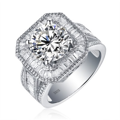 Round Cut Created White Sapphire Halo 925 Sterling Silver Engagement Ring