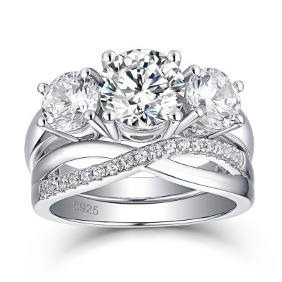 Twist 3-Stone Round Cut White Sapphire 925 Sterling Silver Bridal Sets