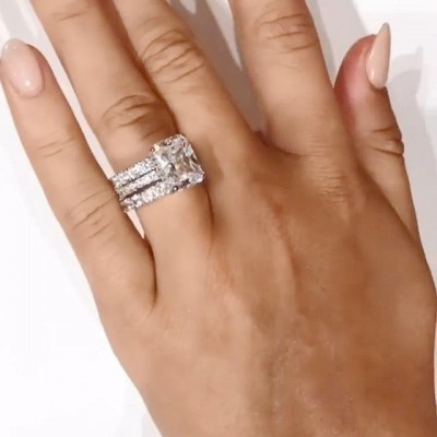 Radiant Cut White Sapphire 925 Sterling Silver 3-Piece Bridal Sets