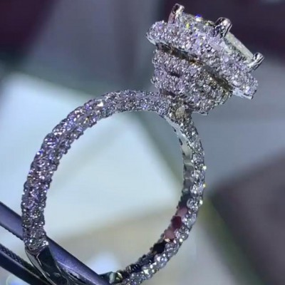 3.8 Carat Princess Cut White Sapphire 925 Sterling Silver Halo Engagement Rings