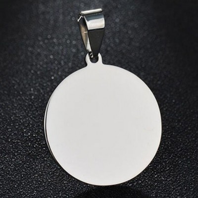 Titanium Steel Round Shape Personalized Photo Engraved Pendant Necklace