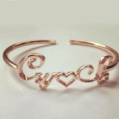Rose Gold S925 Silver Personalized Name Bangles