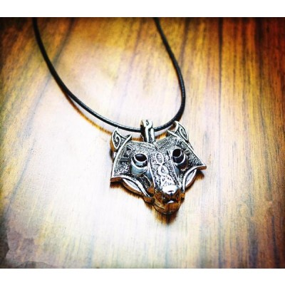 Vintage Norse Wolf Head Necklace