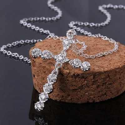 Stylish Cross White Sapphire Necklace for Women