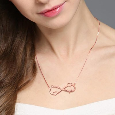 Rose Gold 925 Sterling Silver Double Heart Infinity Names Necklace