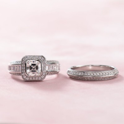 Asscher Cut White Sapphire 925 Sterling Silver Halo Bridal Sets