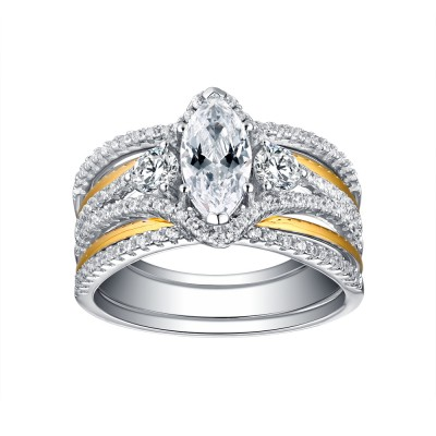 Oval Cut Gold S925 White Sapphire 3 Piece 3-Stone Ring Sets