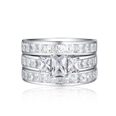 Emerald Cut S925 White Sapphire 3-Stone 3 Piece Ring Sets
