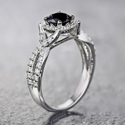 Round Cut Black & White Sapphire S925 Silver Halo Engagement Rings