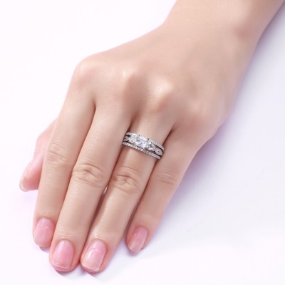 Princess Cut S925 Silver White Sapphire 3 Piece 3-Stone Ring Sets