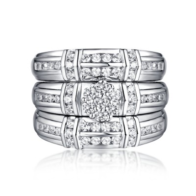 Round Cut 925 Sterling Silver Black & White Sapphire 3 Piece Ring Sets