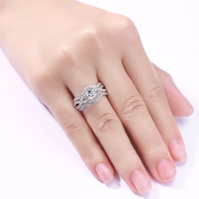Round & Princess Cut White Sapphire 925 Sterling Silver 3 Piece Ring Sets