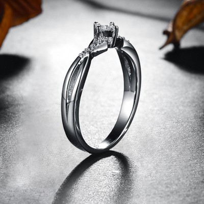 Princess Cut White Sapphire Sterling Silver Engagement Rings