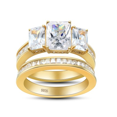 Three Stone Emerald Cut Gold Sterling Silver Bridal Sets