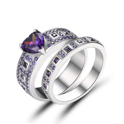 Heart Cut Amethyst Sterling Silver Bridal Sets