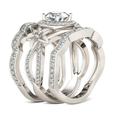 Round Cut Flowers White Sapphire Sterling Silver Bridal Sets