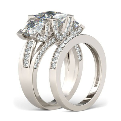 Vintage Princess Cut White Sapphire 925 Sterling Silver Bridal Sets