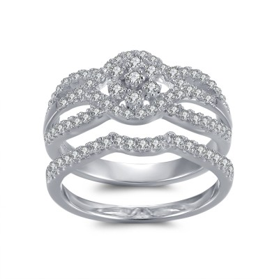 Exquisite Round Cut White Sapphire 925 Sterling Silver Bridal Sets