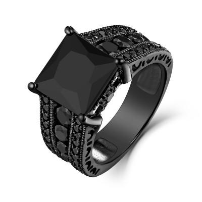 5.56CT Black Sapphire Princess Cut Black 925 Sterling Silver Engagement Rings