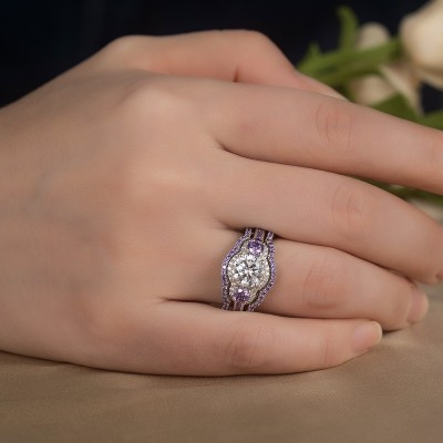 Round Cut White Sapphire Amethyst 925 Sterling Silver 3-Piece Bridal Sets