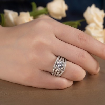 Round Cut White Sapphire 925 Sterling Silver Insert Halo Bridal Sets