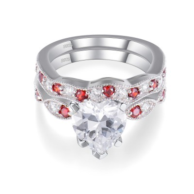 Heart Cut White and Ruby Sapphire Sterling Silver Women's Wedding Bridal Set