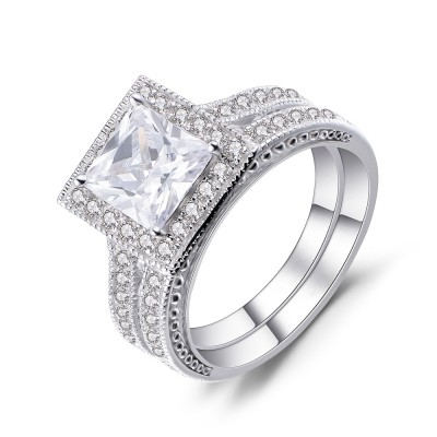 Princess Cut White Sapphire Sterling Silver Women's Bridal Ring Set