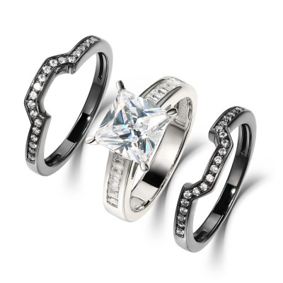 Princess Cut White Sapphire Black 925 Sterling Silver 3 Piece Bridal Sets