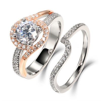 Round Cut White Sapphire Rose Gold 925 Sterling Silver Bridal Sets