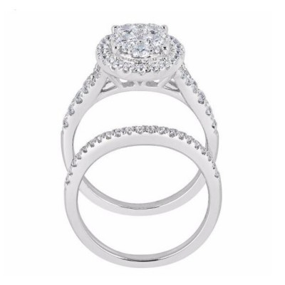 Round Cut White Sapphire 925 Sterling Silver Halo 3-Piece Bridal Sets