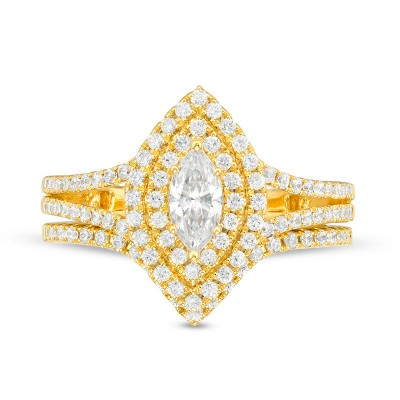 Gold Marquise Cut White Sapphire 925 Sterling Silver Halo Bridal Sets
