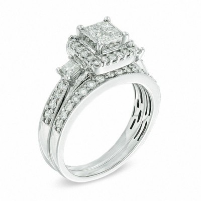 Princess Cut White Sapphire 925 Sterling Silver Halo 3-Stones Bridal Sets