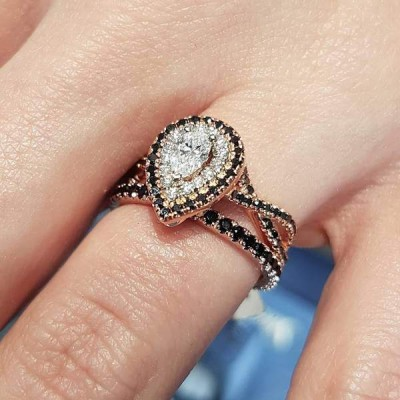 Pear Shape Oval Cut White Sapphire Sterling Silver Rose Gold Halo Bridal Sets